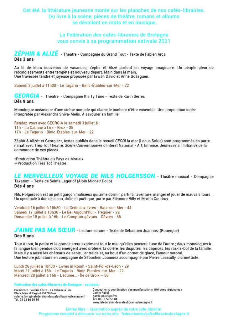 Programmation Livres en scène - du 3 au 28 juillet 2021